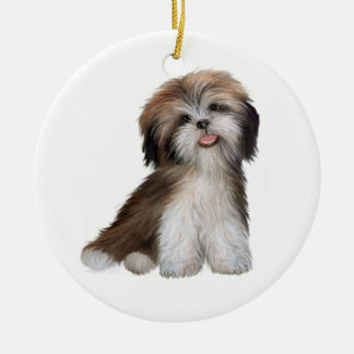 Shih Tzu - brown and white #2 Ceramic Ornament