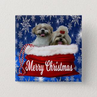 Shih tzu Button Christmas