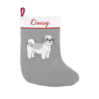 Shih Tzu Cartoon Dog with Custom Text Small Christmas Stocking