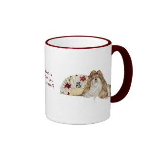 Shih Tzu Christmas Holiday Cup Ringer Mug