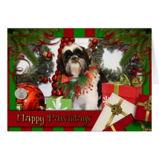 Shih Tzu Christmas Photocard Card