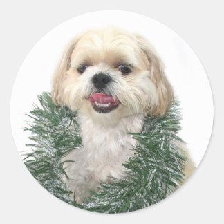 Shih Tzu Christmas sticker