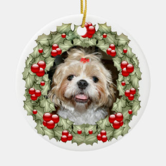 Shih Tzu Christmas wreath Ceramic Ornament