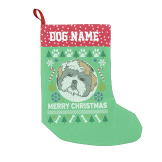 Shih Tzu Dog Breed Ugly Christmas Sweater Small Christmas Stocking