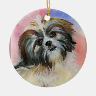 shih tzu dog ceramic ornament