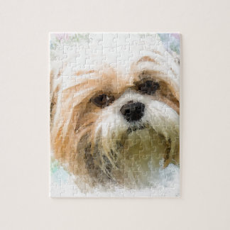 Shih Tzu Dog Water Color Art Painting Jigsaw Puzzle
