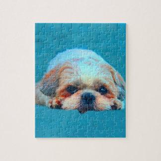 Shih Tzu Dog Water color art Portrait Jigsaw Puzzle