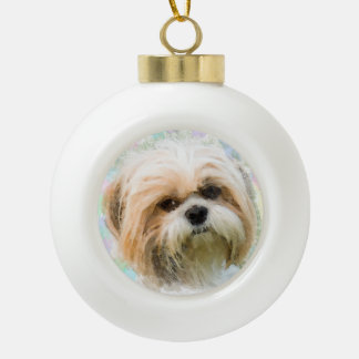Shih Tzu dog Water Color Painting Art Ceramic Ball Christmas Ornament