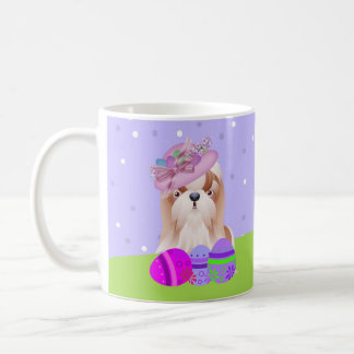 Shih Tzu Dog With Easter Basket And Eggs, Easter G Coffee Mug