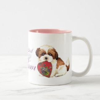 Shih Tzu Heart Mom Two-Tone Mug