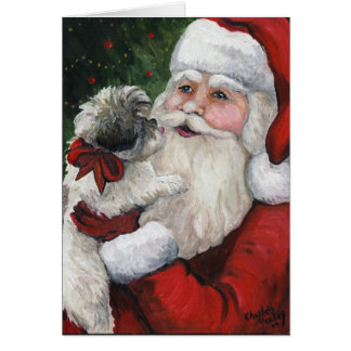 """Shih tzu Kisses for Santa"" Dog Art Christmas Card"