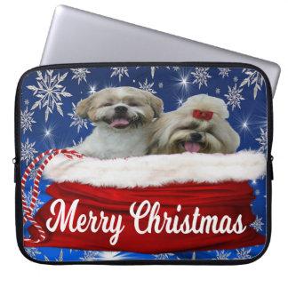Shih tzu Laptop Sleeve Christmas