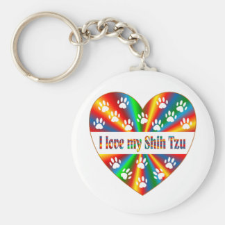 Shih Tzu Love Basic Round Button Key Ring
