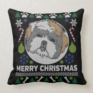 Shih Tzu Merry Christmas Ugly Sweater Cushion