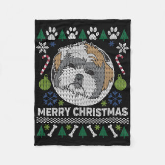 Shih Tzu Merry Christmas Ugly Sweater Fleece Blanket