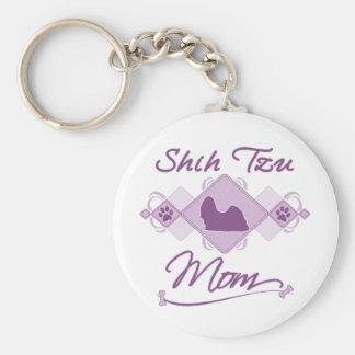 Shih Tzu Mom Basic Round Button Key Ring