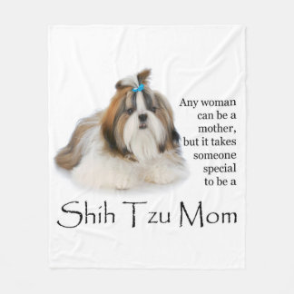 Shih Tzu Mom Fleece Blanket