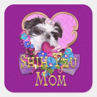 Shih Tzu Mom with Puppy in Purple Square Sticker