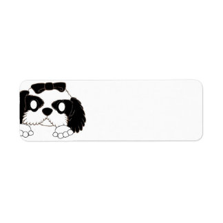 shih tzu peeking black and white return address label