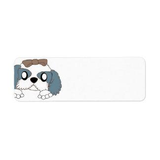 shih tzu peeking blue and white return address label