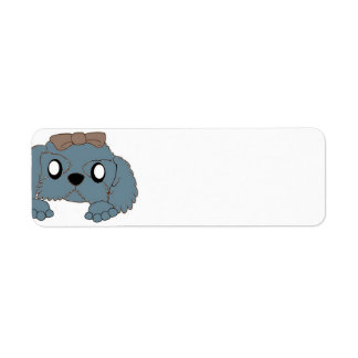 shih tzu peeking blue return address label