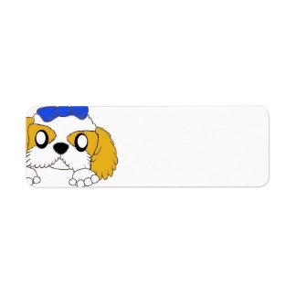 shih tzu peeking gold and white return address label