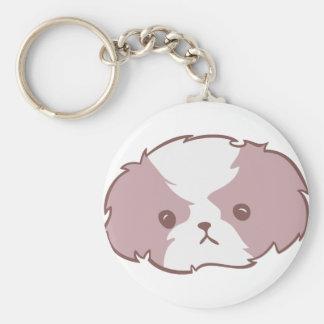 Shih Tzu (pink) Basic Round Button Key Ring