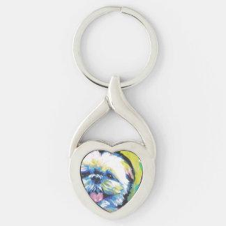 Shih Tzu Pop Art Silver-Colored Twisted Heart Key Ring