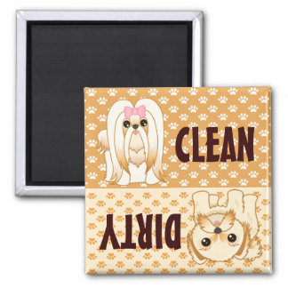 Shih Tzu Puppy Dogs Clean - Dirty Dishwasher Magnet