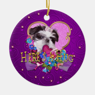 Shih Tzu Puppy Heres a Hug Ceramic Ornament