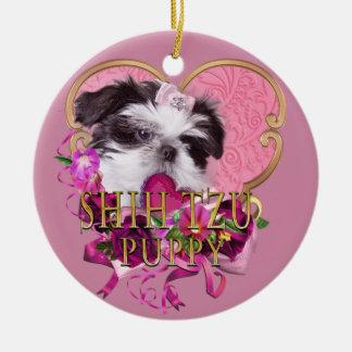 Shih Tzu Puppy In Pinks & Purples Ceramic Ornament