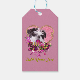 Shih Tzu Puppy In Pinks & Purples Gift Tags