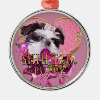 Shih Tzu Puppy In Pinks & Purples Metal Ornament