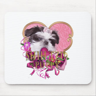 Shih Tzu Puppy In Pinks & Purples Mouse Pad