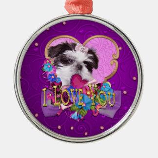 Shih Tzu Puppy in Purple I Love You Metal Ornament
