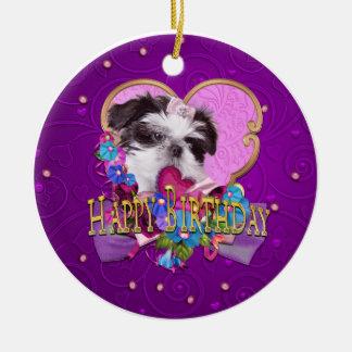 Shih Tzu Puppy Purple Happy Birthday Ceramic Ornament