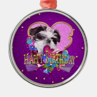 Shih Tzu Puppy Purple Happy Birthday Metal Ornament