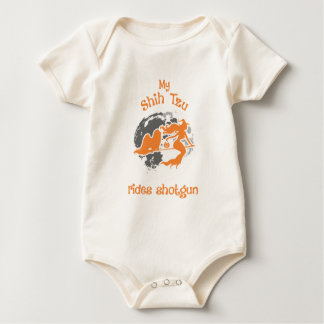 Shih Tzu Rides Shotgun Halloween Costume Baby Bodysuit