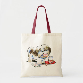 Shih Tzu Santa Cookie Thief Tote Bag