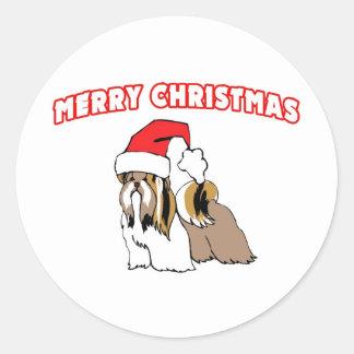 Shih Tzu Santa-Merry Christmas Classic Round Sticker