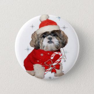 Shih Tzu Santa Paws gifts 6 Cm Round Badge