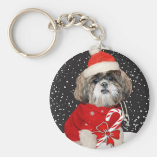 Shih Tzu Santa Season Greetings Keychain