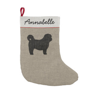 Shih Tzu Silhouette with Custom Text Small Christmas Stocking