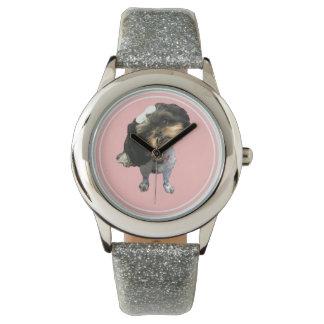 Shih Tzu Silver Glitter Watch