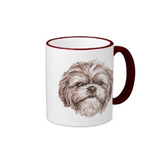 Shih Tzu Sketch Ringer Mug