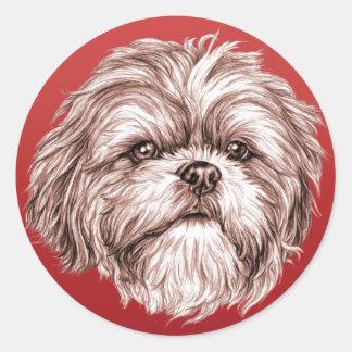 Shih Tzu Sketch Round Sticker