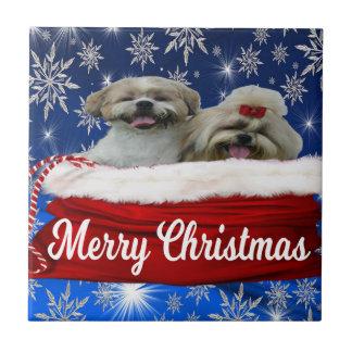 Shih tzu Tile, Christmas Ceramic Tile