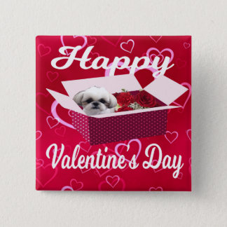 Shih tzu Valentine's Day Button, Dog 15 Cm Square Badge