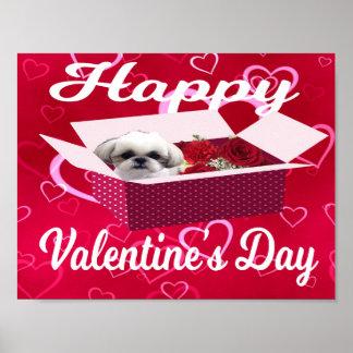 Shih tzu Valentine's Poster, Dog Poster