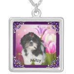 Shih tzu with Purple Frame & Flowers Named Custom Necklace